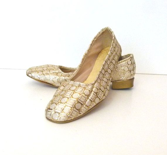 1960s Gold Slippers Gold Brocade Shoes Gold and by Bethlesvintage, $30.00