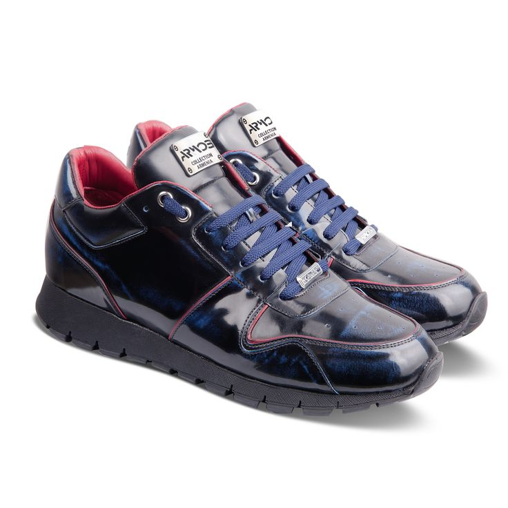 Men's blue patent leather sneakers from Armos