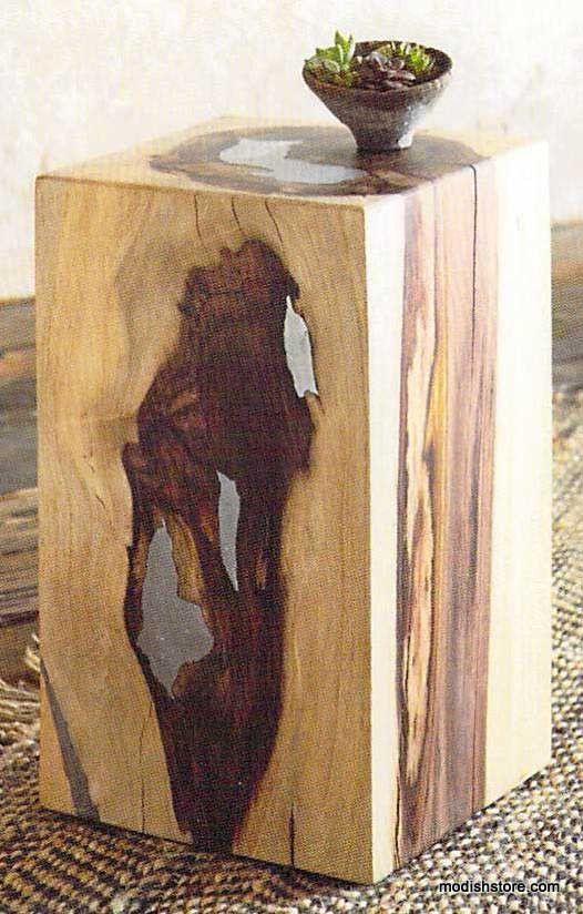Modesto Espresso End Lamp Accent Table Wood Black Metal ...  |Wood Aluminium Table