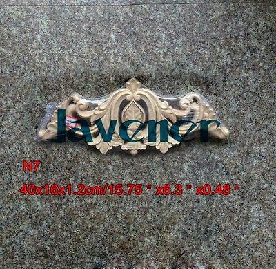 N7-40x16x1.2 cm Drewno Rzeźbione Długo Onlay Aplikacja Niemalowanej Rama Drzwi Naklejka carpenter Pracy Kwiat