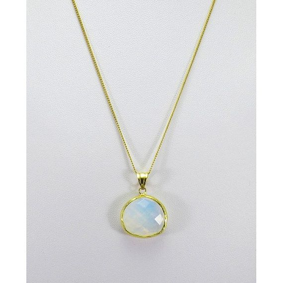 Rainbow Moonstone Necklace Gold Moonstone Necklace by iPreciousgr