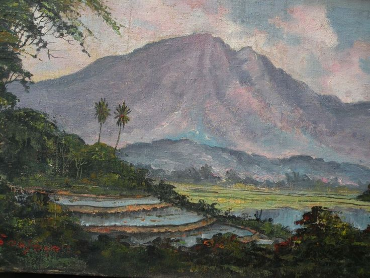 Indonesian art impressionist expansive landscape painting with volcano and rice paddies signed J. H. Soejono, $750