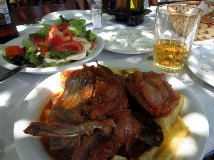 Kouneli dish (rabbit) at 'Dionyssos' in Preveli