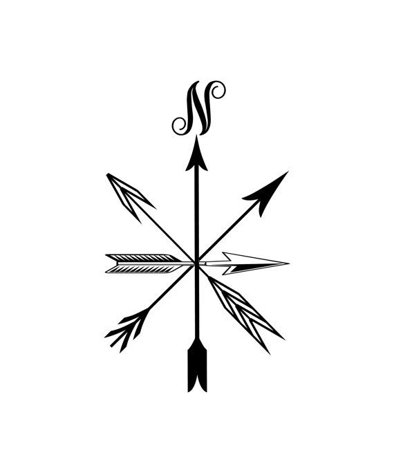 Vinyl decal, compass rose, vinyl wall decor, door window decal, removable vinyl, nautical decal, tribal arrow sticker, computer decal