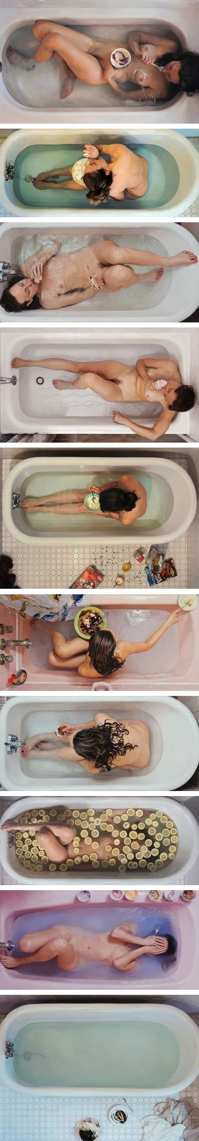 Lee Price's self portraits in the tub with food are amazing examples of contemporary photo realism. So impressive.
