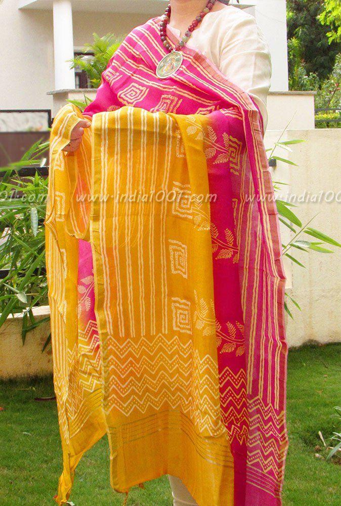 Beautiful Dabu Printed Chanderi Cotton dupatta