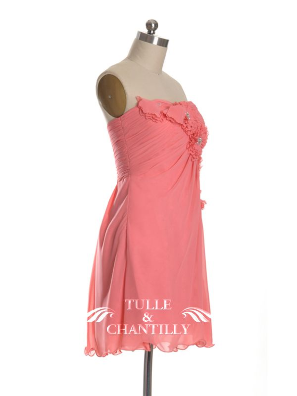 Cute Beaded Floral Coral Short Cocktail Bridesmaid Dress
