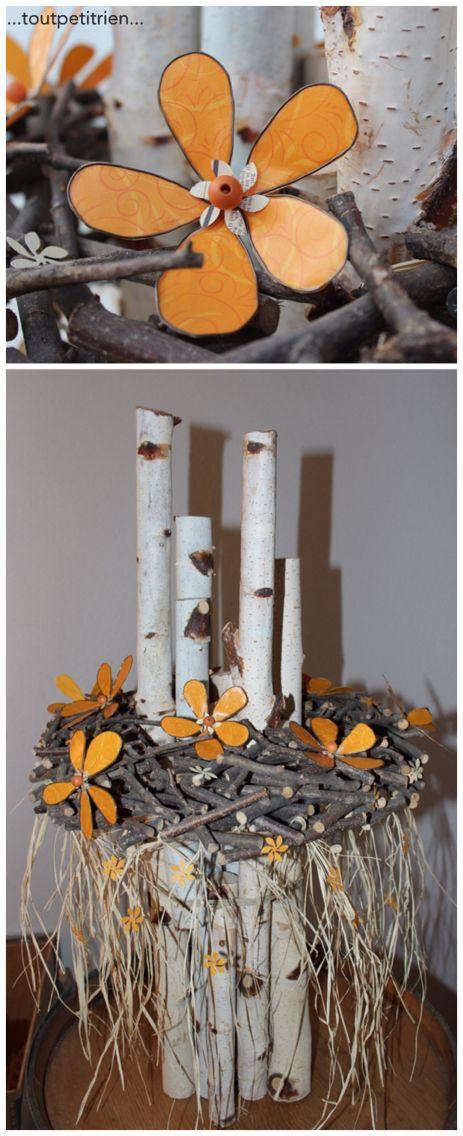 Déco branches et fleurs fil de fer/papier/vernis colle http://www.toutpetitrien.ch/divers/ et www.pinterest.com/fleurysylvie