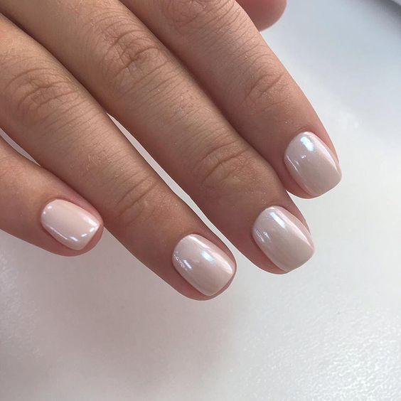 The 35 Prettiest Wedding ceremony Nail Colours – attractive shimmery ivory marriage ceremony nails