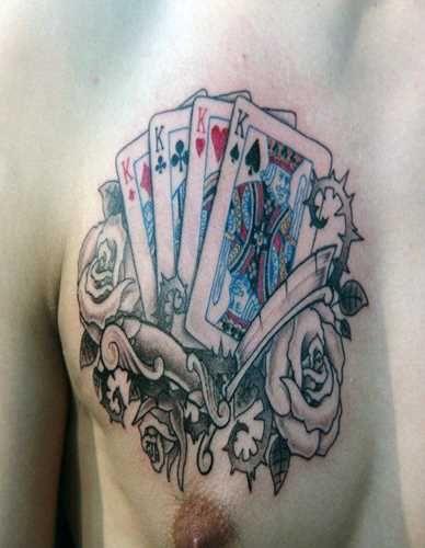 Skull poker tattoo