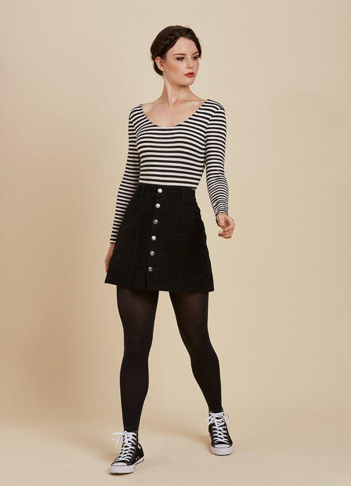 a4ff5f49351 Sedgwick Scoop Neck Bodysuit – Black Stripe
