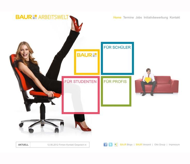"""- Karriereportal für BAUR - Was BAUR im HR-Bereich alles zu bieten hat, zeigt das neue, außergewöhnliche Online-Karriereportal, das von uns konzipiert und realisiert wurde: ein Karriereportal, das im wahrsten Sinne des Wortes aus dem Rahmen fällt: bunt und vielfältig wie die Produkte selbst und auch erst auf den zweiten Blick als Stellen-Portal zu erkennen. Der herkömmliche """"trockene"""" Portal-Charakter wird durch einen dynamischen Rahmen aufgelockert."""