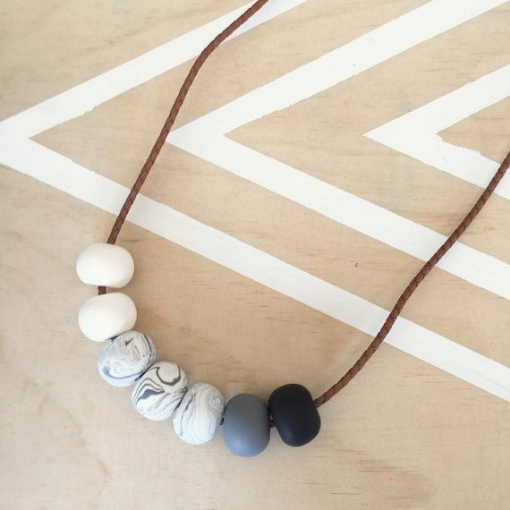 Polymer clay bead necklace marble black grey white on by RafHop