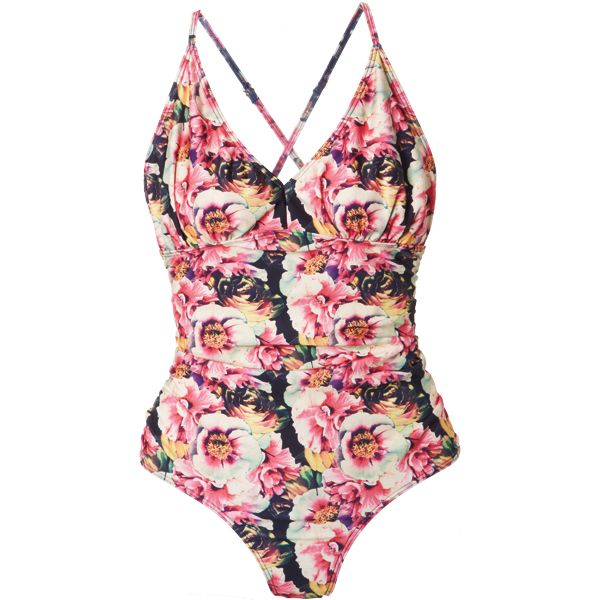 Bold blooms keep eyes traveling so you look fab through all nine months. #swimsuits