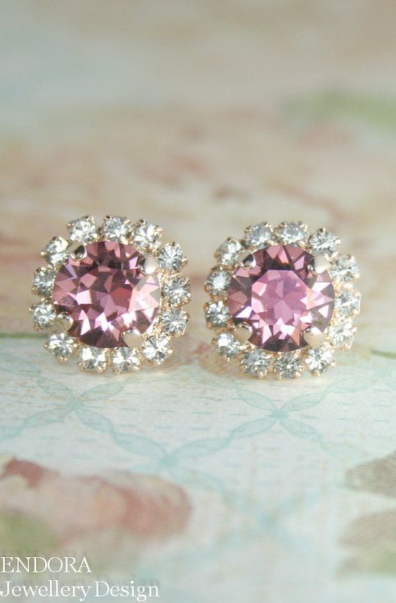 rose gold swarovski pink crystal stud earrings | pink wedding jewelry | pink crystal earrings | www.endorajewellery.etsy.com