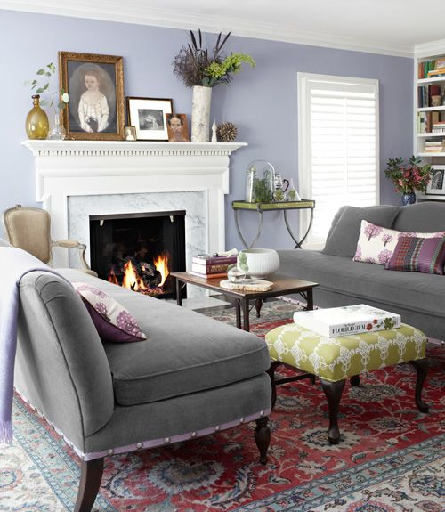 Great tip: Add grosgrain ribbon and upholstery tacks to the bottom of a classic sofa for a cheeky update on the cheap.: Wall Colors, Lavender Wall, Dreams Houses, Decor Ideas, Living Rooms, Area Rugs, Country Living, Colors Schemes, Fireplace