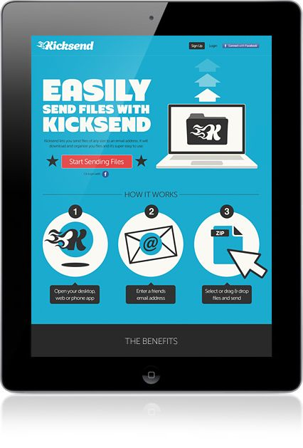 Kicksend Homepage Design. Simple works - people don't get angry when site is not easy- they just leave