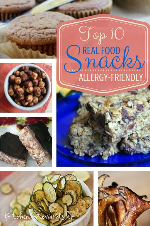 Top 10 Allergy Friendly Real Food Snacks. If someone in your family has a food allergy, you know that everything about food that is tricky, and snacks are even trickier. These allergy friendly snack ideas are a great help.