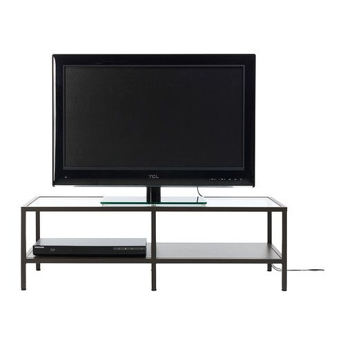 VITTSJÖ TV unit IKEA Tempered glass and metal. Hardwearing materials that give an open, airy feel. 2 open compartments for a DVD-player, etc.