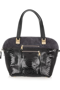 Chloémidnight blue and black python and suede tote
