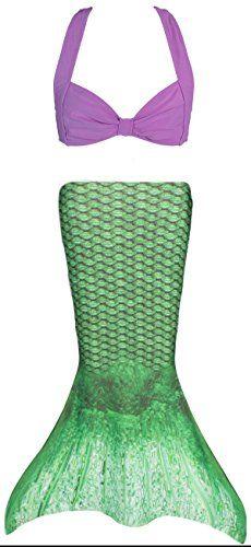 Fin Fun Toddler Mermaid Costume  Celtic Green Tail with Purple Bikini Top  Size 5T