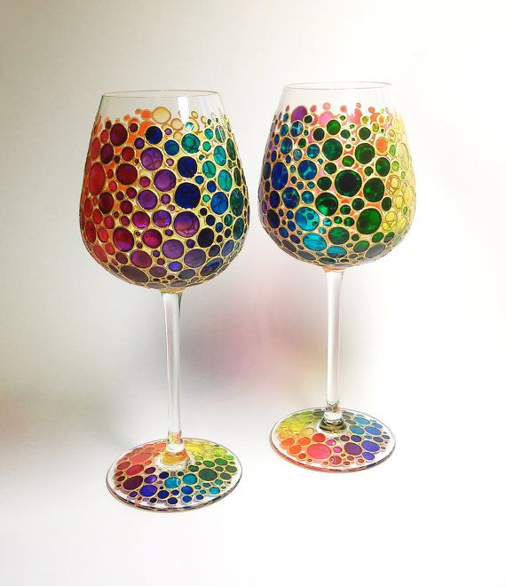 Two Multi Colored Bubbles Wine Glasses  Hand Painted by ArtMasha
