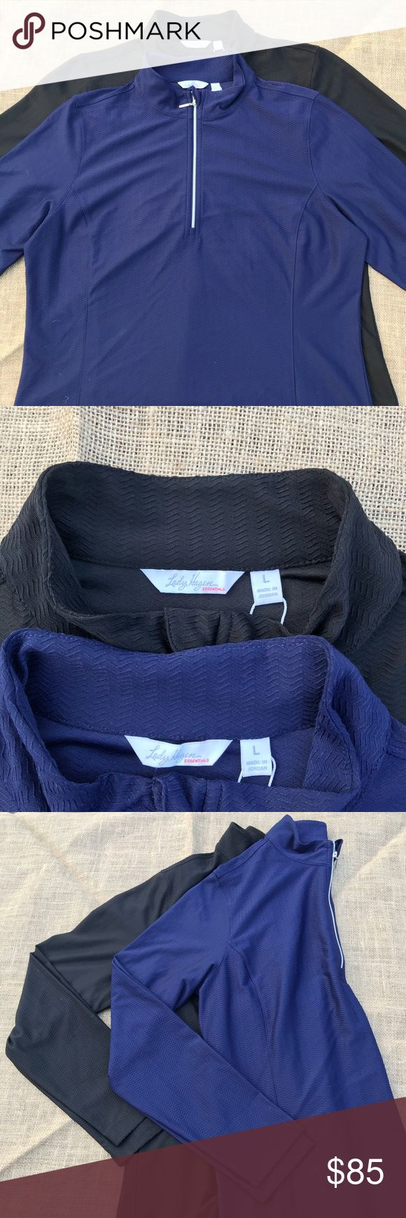 2 Lady Hagen essentials quart zipper long sleeve Bundle Set of 2 Lady Hagen quarter zip long sleeve shirt. Colors are black, navy eclipse. Has UV protection along with hydrodri fabric keeps you cool and dry by moving sweat away from your skin. I personally use these for working out and they are beyond amazing in wicking away moisture. Retail $50 each. Lady Hagen Tops Tees - Long Sleeve