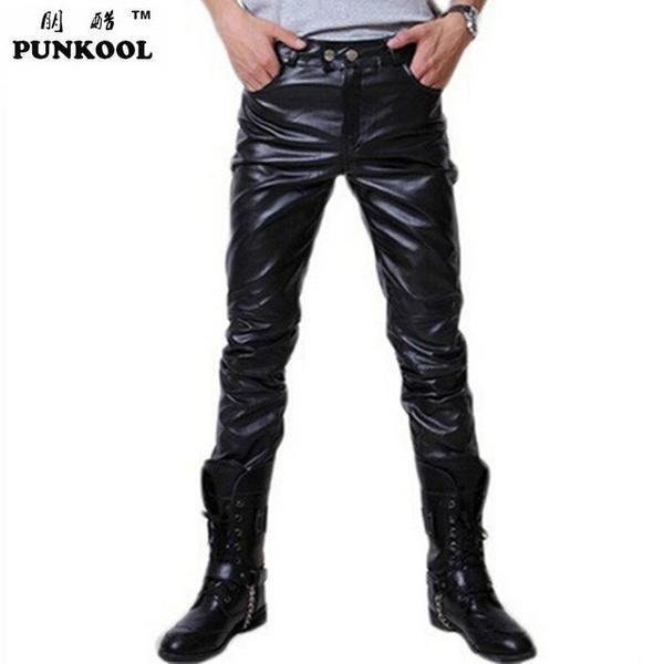 Hip Hop Mens Black Pants Faux Leather PU Material Pants