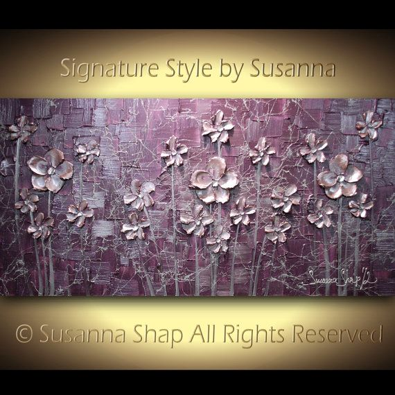 MAGIC WEB  Original contemporary gallery fine art by Susanna - large modern abstract floral palette knife acrylic painting - Rich impasto textured metallic dusty pink flowers on a contemporary dusty purple and silver background. To see closeups please click on above images.  All sizes in my shop are shown in the inches format. If you use cm, please use the google inches to cm converter to know the size: https://www.google.com/search?q=inches+to+cm&ie=utf-8&oe&...