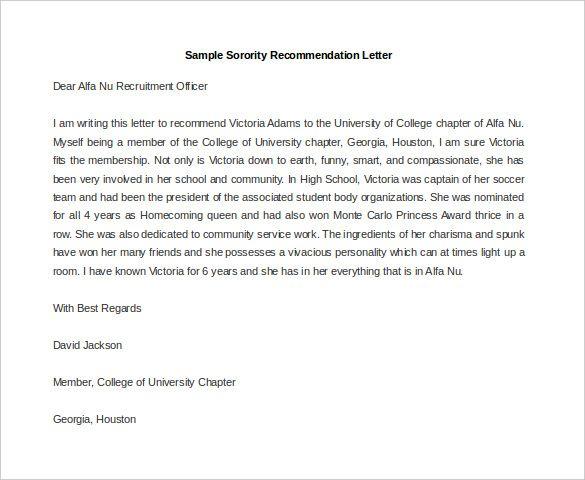 recommendation letter for university