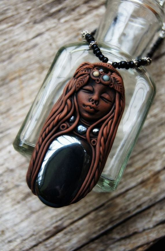 Hematite Healing Goddess Necklace. Clay and Gemstone by TRaewyn I LOVE this piece.