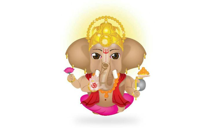 Ganeshji - vector interpretation of the Hindu Elephant-headed God of Wisdom and the remover id obstacles