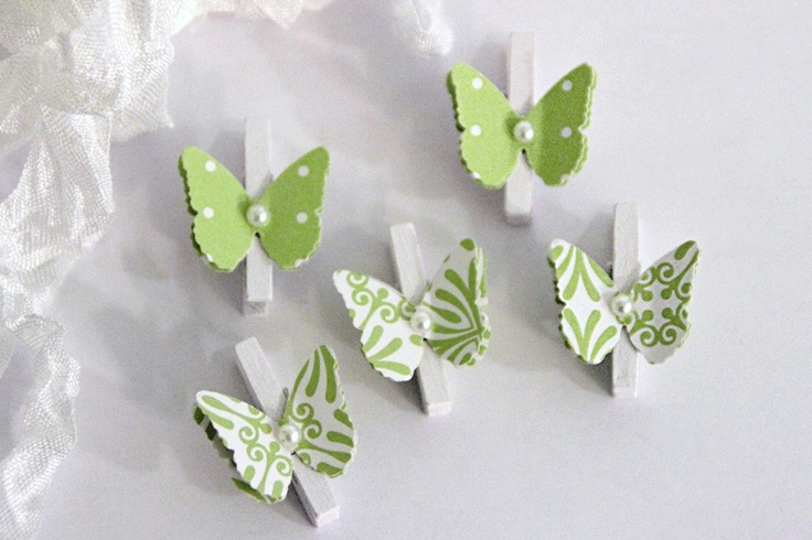 Mini Wooden Clothespins With Butterflies