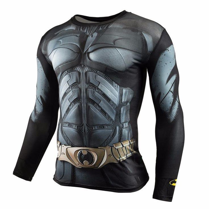 Gyms Clothing Fitness Compression Shirt Men Superman Batman winter soldie Bodybuilding Long Sleeve 3D T Shirt Crossfit Super Top