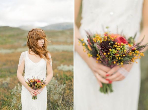 Local flower fall wedding bouquet in Norway | 4 Easy Ideas For Eco-Friendly Wedding Decor | Green Bride Guide