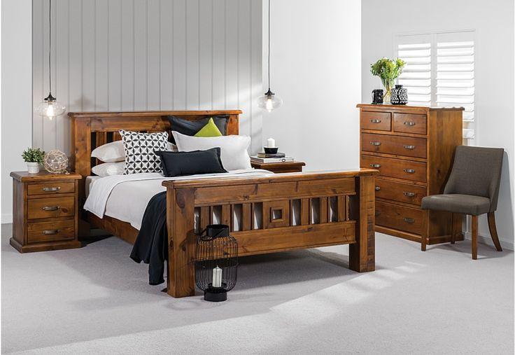 Settler 4 Piece Tall Chest Queen Bedroom Suite   Super Amart