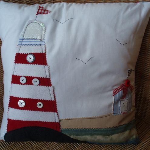 Folksy :: Buy Beautiful cushion with lighthouse and beach appliqué scene.  | Craft Juice