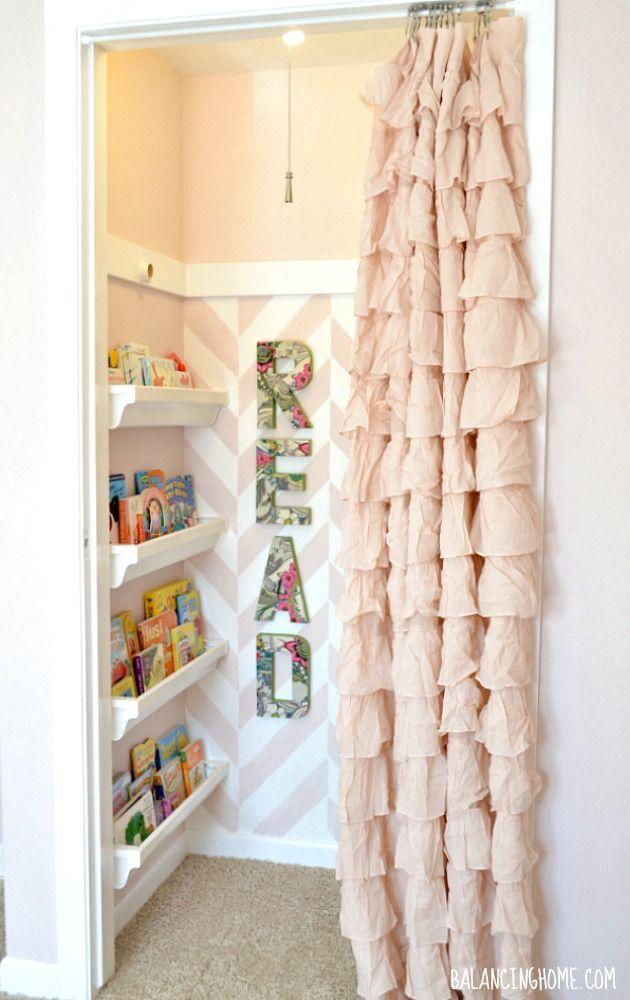 Closet to Reading Nook- herringbone stencil, gutter bookshelves, Mod Podge READ Letters