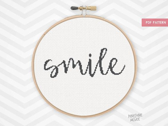 SMILE counted cross stitch pattern, easy beginner simple xstitch embroidery need…