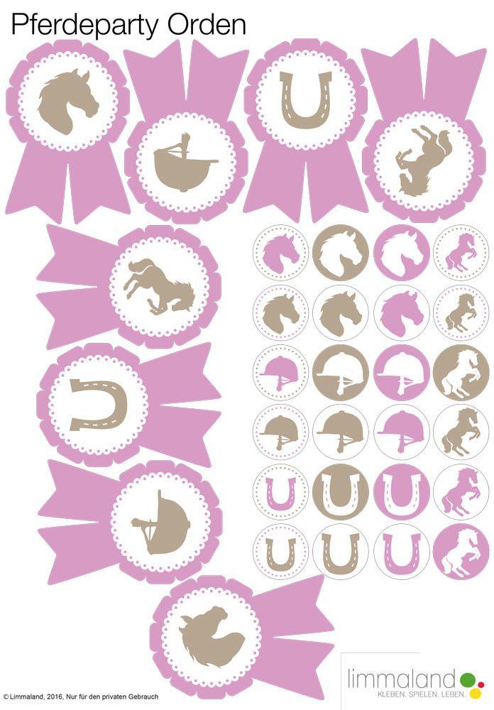 Nach dem Spielen auf dem Pferdegeburtstag sollte es Orden geben, denn das kommt bei den kleinen Pferdefans besonders gut an! Hier haben zwei Bastelvorlagen - eine zum Ausschneiden und eine für Kronenkorken. Im Download von Limmaland gibt es aber noch viel mehr Spielideen und Dekorationsmaterial für eine gelungene Pferdeparty. Nun kann der Kindergeburtstag kommen // horse birthday party ideas and decoration www.limmaland.com