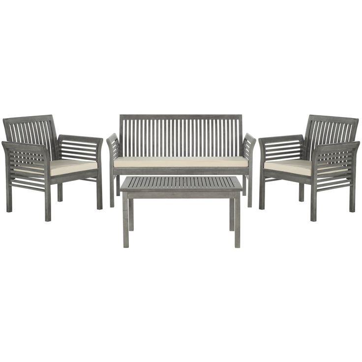 safavieh carson grey wash acacia wood 4 piece outdoor furniture set