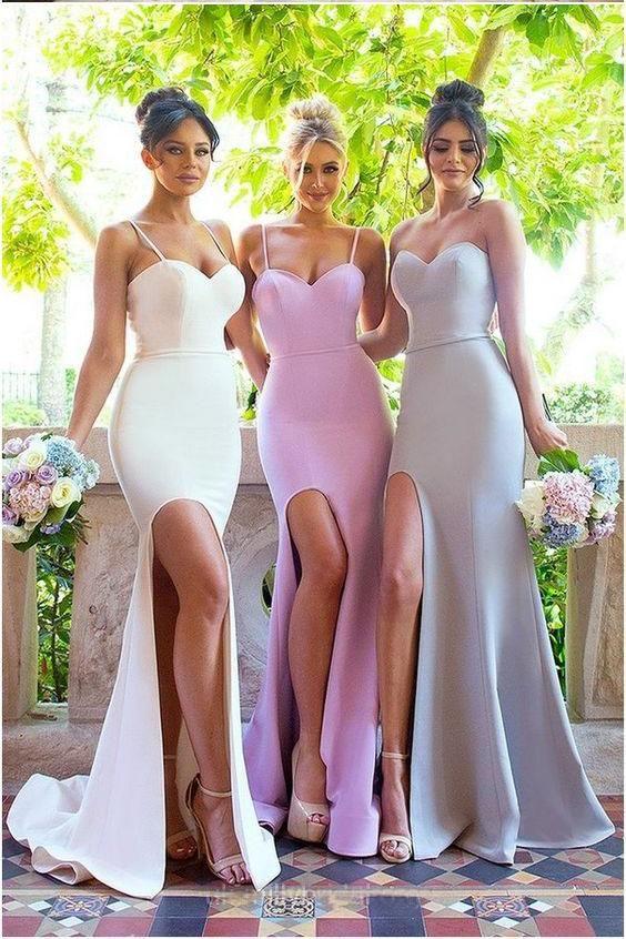 Sexy Mermaid Spaghetti Straps Sleeveless Side Slit Bridesmaid Dress,Long Prom Gown,N421