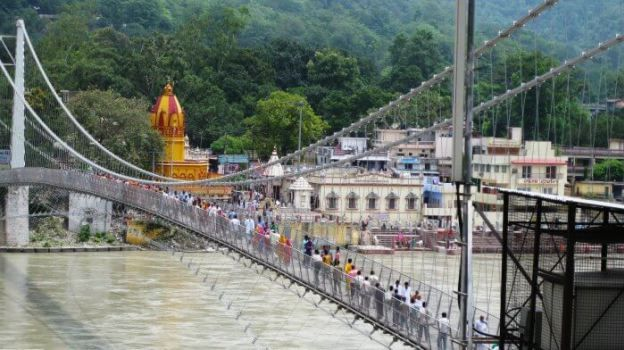 The popular Laxman Jhula in Haridwar over river Ganga  #travel #tour #india #travelling #uttrakhand