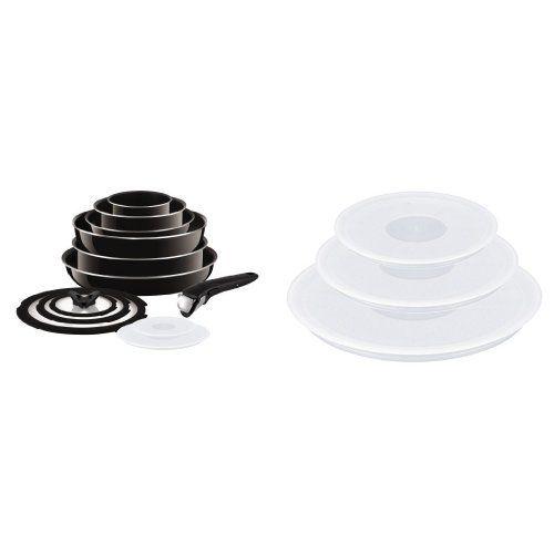 From 125.13 Tefal Ingenio Non-stick Enamel Cookware Set 13 Pieces  Ingenio Plastic Lids - Set Of 3