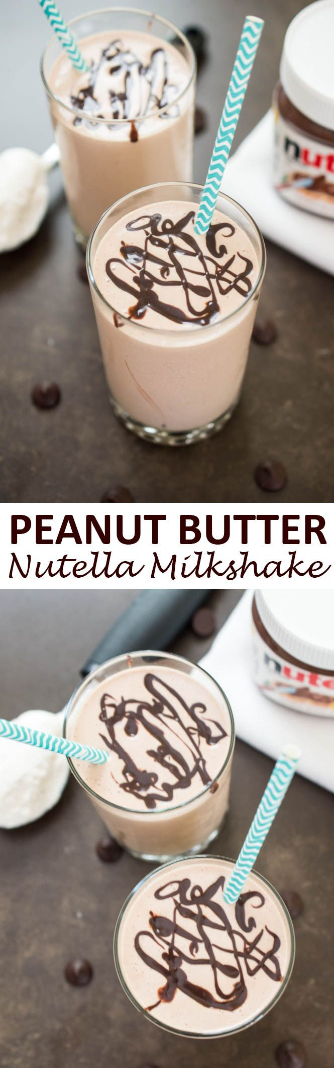 4 ingredient Creamy Peanut Butter & Nutella Milkshake. Takes less than 5 minutes to make! | chefsavvy.com #recipe #peanut #butter #nutella #milkshake #dessert #chocolate
