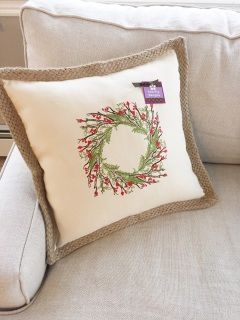 This elegant, embroidered berry wreath is the perfection addition to your holiday decor or as a gift!