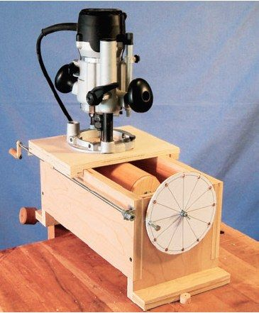 """Use a 1/4"""" bolt to lock the wheel on this lathing jig and you can accurately cut out multiple flutes on your project."""