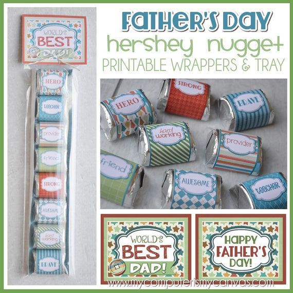 Printable Father's Day Nugget Wrappers, cute gift or favor for Dad's - love a chocolate treat!