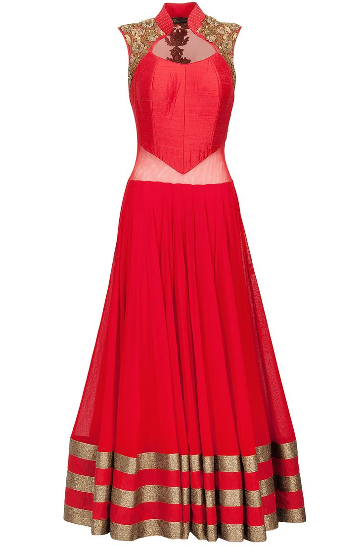 Red sheer back embroidered anarkali set available only at Pernia's Pop-Up Shop.