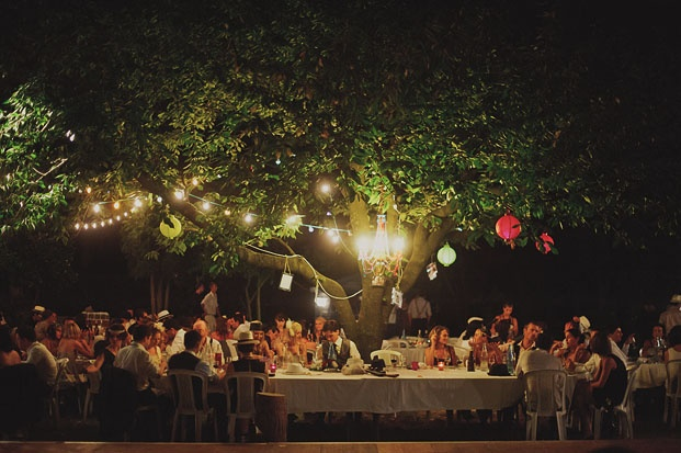 table banquet lumières
